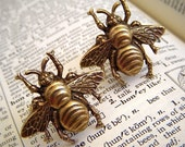Bee Cufflinks - Classic Brass Metal Miniatures - Gothic Victorian Steampunk Accessories