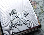 Steampunk Cigarette Case Medeival Knight - Art Deco Sun Rays - EXTRA LARGE Silver Plated Metal Wallet - DOUBLE Size Inside - Original Design from Cosmic Firefly