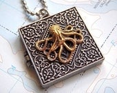 Octopus Locket Necklace Silver and Gold - Shhhhhh Secret Compartment Inside