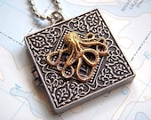 Octopus Locket Necklace Silver and Gold Mixed Metals - Shhhhhh Secret Compartment Inside
