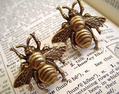 Bee Cufflinks - Classic Brass Metal Miniatures - Gothic Victorian Steampunk Accessories From Cosmic Firefly Las Vegas