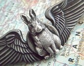 Steampunk Pin Flying Rabbit Wings Gothic Victorian Rustic Primitive Antiqued Silver Finish Brooch Badge