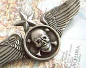 Steampunk Pin Gothic Pirate Wings Flying SKULL & CROSSBONES Aviator Airship Pilot Flight Insignia Badge From Cosmic Firefly Las Vegas