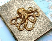 Steampunk Cigarette Case OCTOPUS Large Size Use As Credit Card Holder / Business Card Case / Metal Wallet - Art Nouveau Design Gothic Victorian Kraken - Antiqued Brass Gold Finish - ULTIMATE Nautical STEAMPUNK from Cosmic Firefly Las Vegas