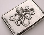 Octopus Cigarette Case Credit Card / Business Card Holder - Silver Plated with Raised Octo Embellishment - Metal Wallet - CosmicFirefly EXCLUSIVE ORIGINAL DESIGN