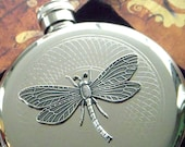 Silver Victorian Dragonfly Flask Art Nouveau Round Vintage Inspired Stainless Steel Silver Plated Metal Pocket Size