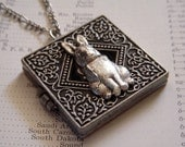 Silver Rabbit Locket Necklace Square Locket Antiqued Silver Finish - Secret Compartment Shhhhh