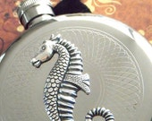 Seahorse Flask Nautical Round Hip Flask Silver Vintage Inspired Gothic Victorian Steampunk Accessories