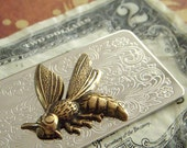 Money Clip Wasp Gothic Victorian Hornet Vintage Style Antiqued Brass Hornet Bee Silver Plated Scroll Work Metal