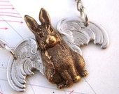 Flying Rabbit Necklace Gothic Victorian Steampunk Necklace Silver Wings Antiqued Brass Rabbit Gothic Easter Bunny Necklace