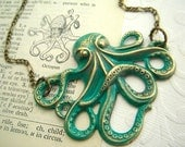 Green Octopus Necklace Jewelry Vintage Inspired Rustic Primitive Brass Nautical Victorian Steampunk Style Large Lightweight Gothic Victorian