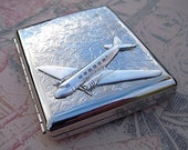 Airplane Cigarette Case Vintage Style Big Silver Plated Metal Steampunk Case Men's Accessories & Gifts Pan Am Air Plane