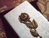 Rose Business Card Case Antiqued Brass Rose Flower Feminine Card Holder Vintage Inspired Victorian Card Case Mother's Day Gifts For Her New