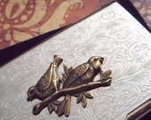 Business Card Case Brass Birds Tree Branch Fancy Victorian Vintage Style Silver Plated Mixed Metals Card Holder