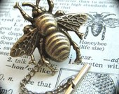 Tie Tack Bee Brass Plated Big Bumble Bee Pin Men's Accessories & Gifts Gothic Victorian Steampunk Style Rustic Vintage Inspired