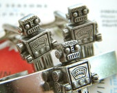 Men's Cufflinks Silver Robot Cuff Links & Robot Tie Clip SET of 3 Silver Cufflinks Originals From Cosmic Firefly