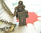 Robot Necklace Antiqued Bronze Steampunk Robot Steampunk Necklace Brass Chain