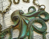 Real Verdigris Octopus Necklace Rustic Natural Green Patina Color Primitive Finish Antiqued Brass Stamped Metal Long Brass Rolo Chain
