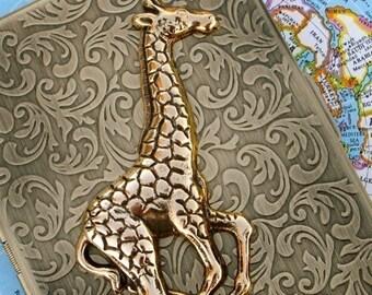 Metal Cigarette Case Gold Giraffe Gothic Victorian Steampunk Vintage Inspired Rustic Gold Brass Antiqued Finish Large Metal Card Holder