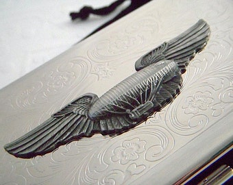 Large Metal Cigarette Case Steampunk Airship Winged Blimp Extra Long 120's Size Case Gothic Victorian Dirigible