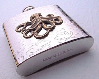 Hip Flask Octopus Nautical Steampunk Stainless Steel With Raised Brass Octopus Victorian Design Mixed Metals Holds 6 oz