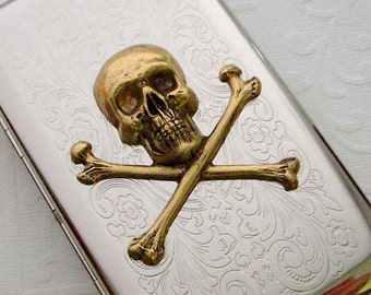 Skull Cigarette Case Vintage Inspired Brass Crossbones Rectangle Silver Plated Metal Case Gothic Victorian Steampunk Style