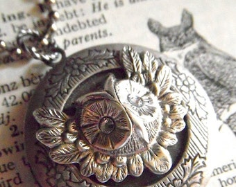 Owl Locket Necklace Vintage Inspired Round Antiqued Silver With Swarovski Crystal Eyes Popular Rustic Primitive Gothic Victorian