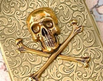 Metal Cigarette Case Pirate Skull & Crossbones Large Slim Rustic Antiqued Gold Brass Metal Wallet Vintage Style Gothic Victorian Accessories
