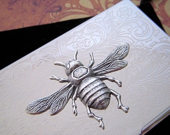 Silver Bee Case Silver Plated Victorian Style Slim Size Vintage Inspired Business Card Case Holder Steampunk Accessories
