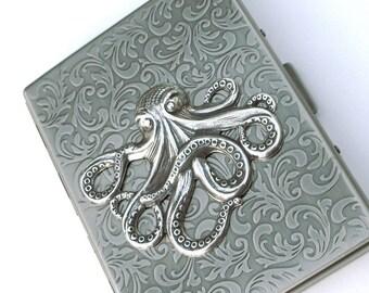 Octopus Cigarette Case Antiqued Silver Metal Nautical Steampunk Large Slim Gothic Victorian Art Nouveau Pirate Accessories