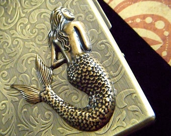 Metal Cigarette Case Brass Mermaid Case Large Silm Antiqued Finish Vintage Inspired Gothic Victorian Nautical Pirate Steampunk Metal Wallet
