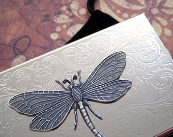 Silver Dragonfly Business Card Case Silver Card Case Dragonfly Card Case Slim Card Case Woman's Steampunk Card Case