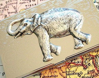 Silver Elephant Business Card Case Silver Card Case Big Elephant Card Case Gothic Victorian Jungle Animal Steampunk Design By Cosmic Firefy