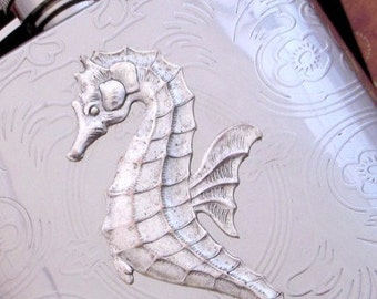 Seahorse Flask Stainless Steel Silver Plated Metal Nautical Steampunk Big Holds 6 oz - Vintage Style Gothic Victorian Scroll Pattern