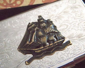 Pirate Ship Business Card Case Gothic Victorian Card Case Nautical Ship Card Case Steampunk Card Case New Steampunk Accessories Men's Gifts