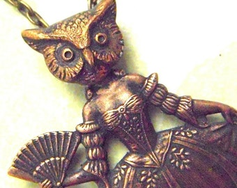 Brass Owl Girl Steampunk Necklace Gothic Victorian Woman Circus Sideshow Carnival Freak Girl Handcrafted Art Jewelry Cosmic Firefly
