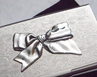 Silver Bow Metal Business Card Case Feminine Card Case Silver Card Case Vintage Style Gothic Victorian Woman's Steampunk Card Case