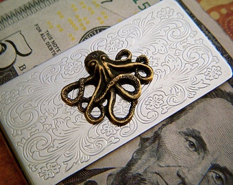Men's Money Clip Brass Octopus Gothic Victorian Nautical Steampunk Money Clip Pirate Accessories Gifts For Men New Fancy Scrollwork