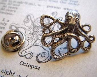 Octopus Tie Tack Lapel Pin Silver Plated Gothic Victorian Nautical Steampunk From Cosmic Firefly