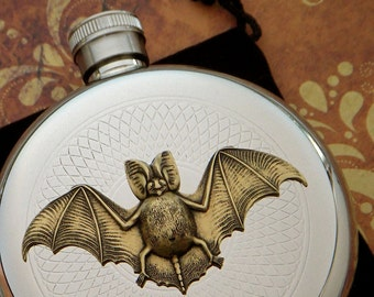 Gothic Bat Flask Gothic Victorian Round Stainless Steel Silver Vampire Bat Steampunk Accessories