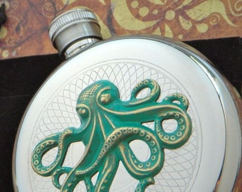 Green Octopus Flask Gothic Victorian Steampunk Style Rustic Faux Verdigris Green Accent