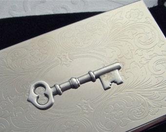 Skeleton Key Card Case Business Card Case Steampunk Card Case Fancy Card Case Slim Card Case Victorian Card Case Silver Card Case
