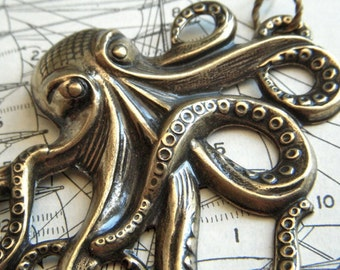 Brass Octopus Necklace Jewelry Large Metal Rustic Finish Lightweight Gothic Victorian Nautical Steampunk Inspired