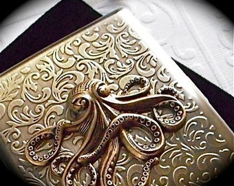 Big Octopus Cigarette Case Antiqued Gold Brass Vintage Inspired Style Large Metal Case Gothic Victorian Steampunk Wallet Men's Wallet Metal