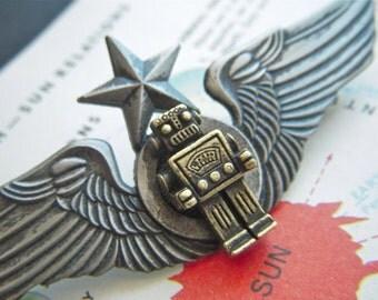 Steampunk Pin Robot Pin Flight Wings Flying Star Badge Mixed Metals Brass & Pewter