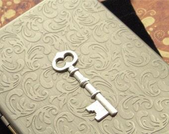 Metal Cigarette Case Skeleton Key Vintage Inspired Gothic Victorian Steampunk Antiqued Bronze Metal Slim Large Size