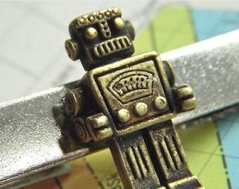 Robot Tie Clip Steampunk Tie Clip Men's Tie Clip Geekery Tie Clip Miniature Toy Robot