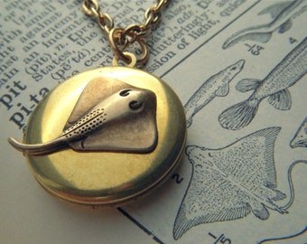 Tiny Vintage Locket Necklace Bat Ray Fish Small Round Antiqued Brass Rustic Primitive Finish Small Size