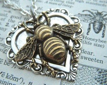 Bee Necklace Heart Necklace Gothic Victorian Mixed Metals Lightweight Pendant Feminine Vintage Inspired Steampunk Style Jewelry