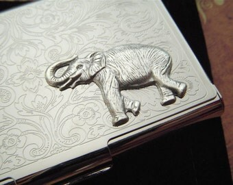 Silver Elephant Business Card Case Vintage Inspired Style Silver Card Case Metal Card Holder Victorian Card Case Steampunk Card Case
